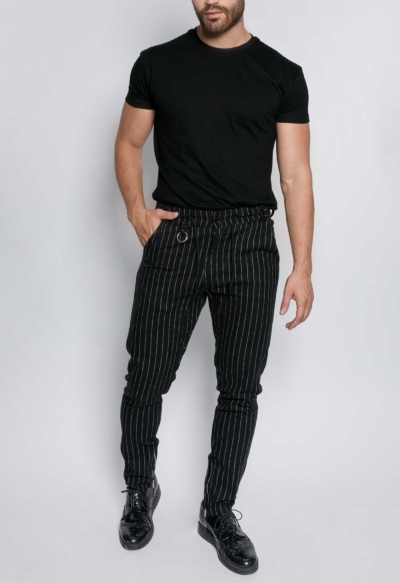 LONG TROUSERS STRIPED TREND BLACK