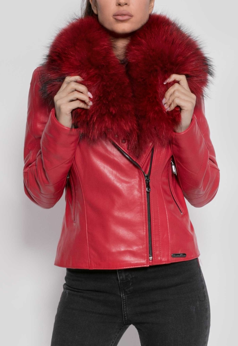 LEATHER JACKET PERFECTO RED