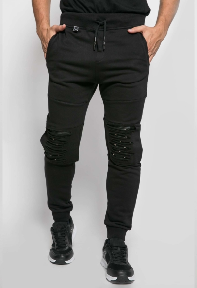LONG TROUSERS STUDDED KNEE BLACK