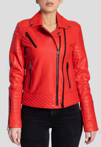 LEATHER BIKER JACKET – DOUBLE ZIPPED RED
