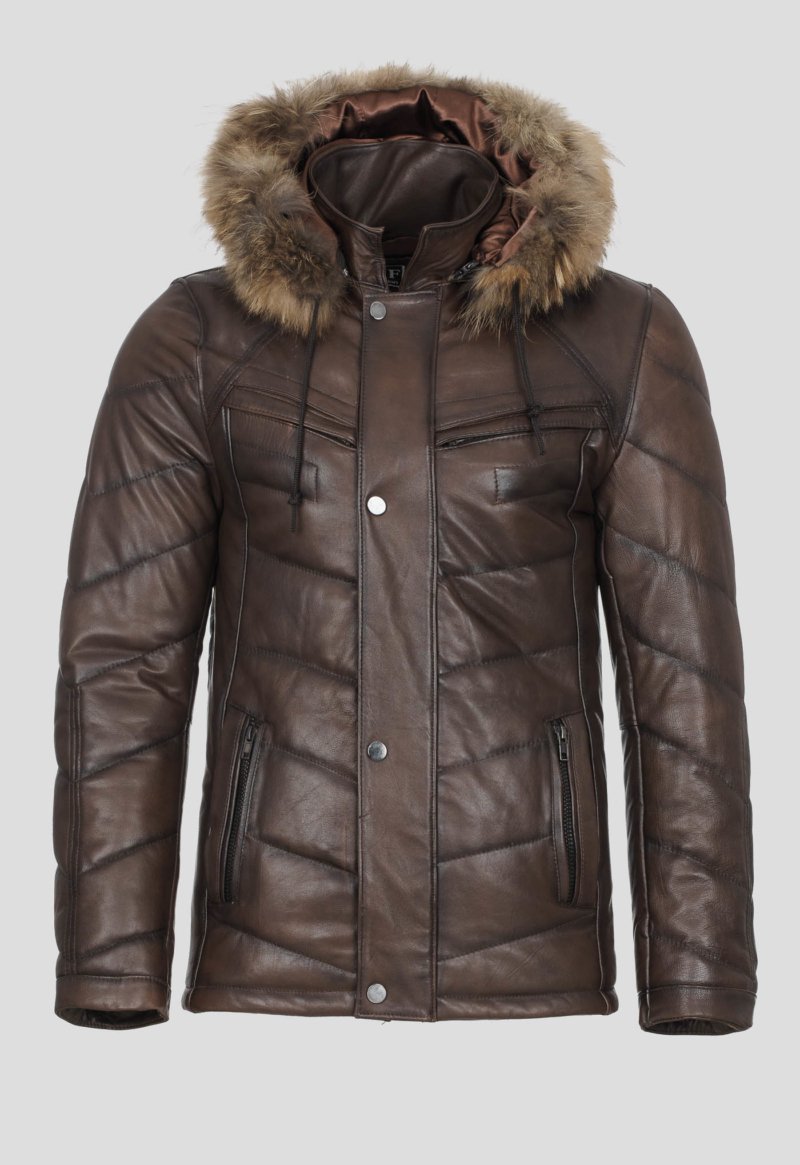 LEATHER MOTO JACKET WITH HOOD – BROWN