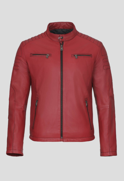 LEATHER MOTO JACKET – RED