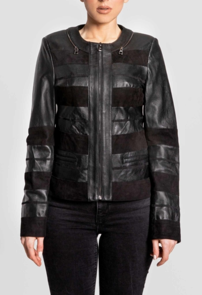 LEATHER WOMAN JACKET – RED STRIPS BLACK