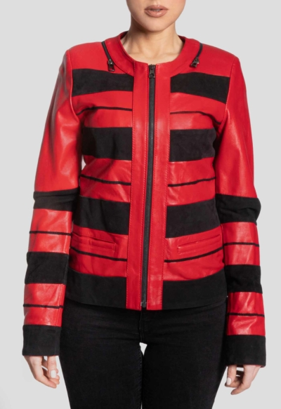 LEATHER WOMAN JACKET – RED STRIPS