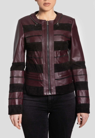 LEATHER WOMAN JACKET – RED STRIPS BORDEAUX