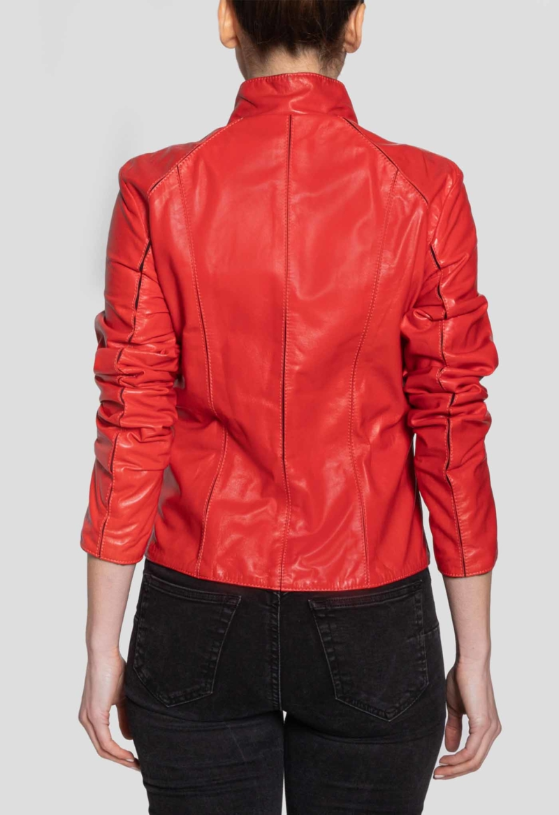 LEATHER JACKET – RED LINE ZIPPED