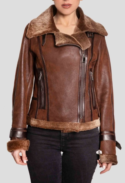 MOUTON LEATHER JACKET – BROWN