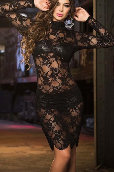 Sexy Σετ Εσώρουχα και Νυχτικό Δαντέλα – Μαύρο