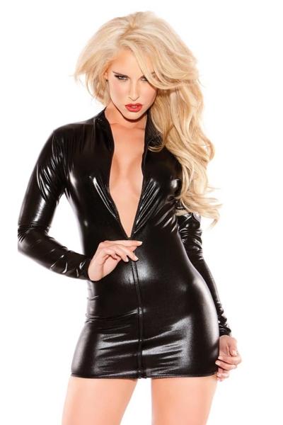 Sexy Κορμάκι με φερμουάρ – Δερματίνη Μαύρο